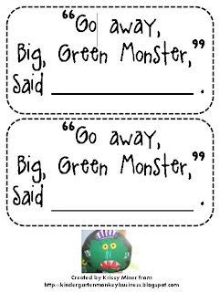 picture regarding Go Away Big Green Monster Printable Book identified as Mrs. Miners Kindergarten Monkey Office environment: Transfer Absent Significant