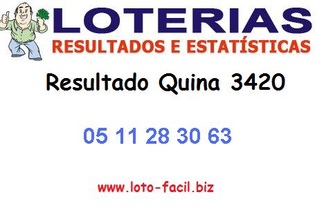 Quina - Resultado da Quina 3420 sorteio do concurso realizado hoje - Segunda (18/02/2014)