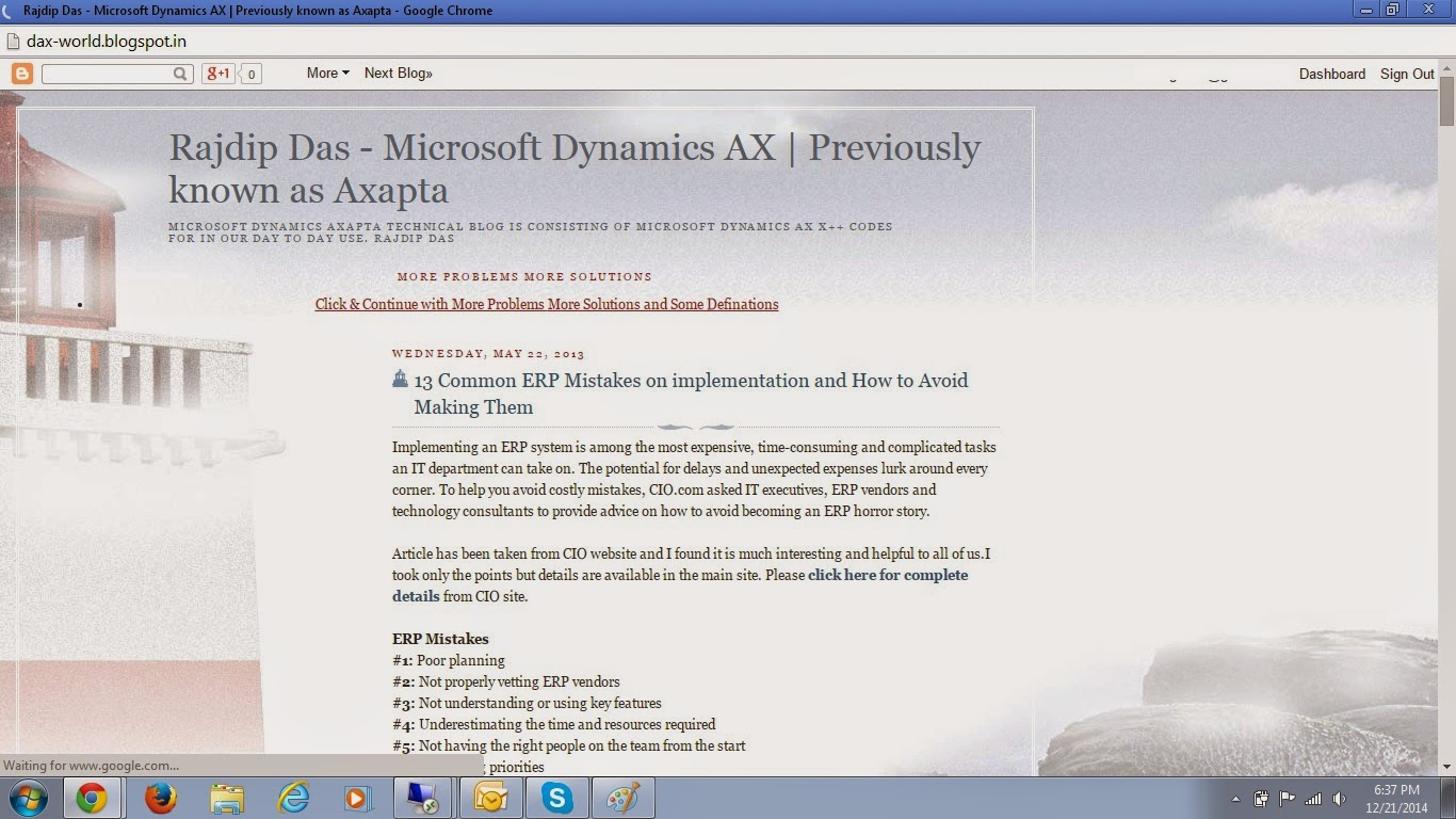 Dynamics Ax Day to day problems and solution