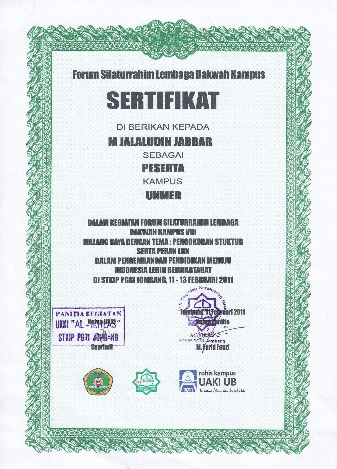 catatan jalal  piagam penghargaan dan sertifikat