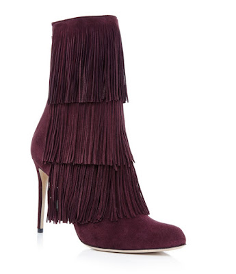 Paul Andrew high heeled suede burgundy boots with fringe detail