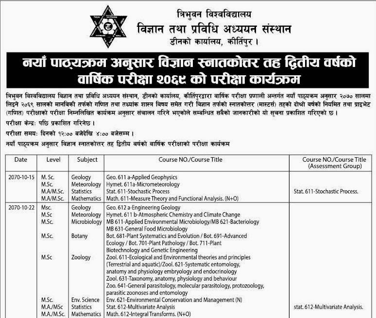 Masters Second Year Exam Routine 2069 Tribhuvan University
