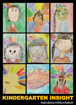 Kindergarten Drawings of Native Americans for Thanksgiving via RainbowsWithinReach