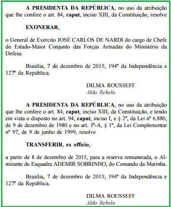 Exoneração e passagem de comando GENERAL de NARDI para almirante sobrinho
