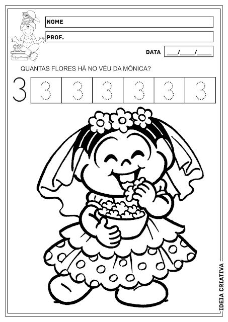 Festas Juninas Numeral 3 Turma da Mônica Atividades