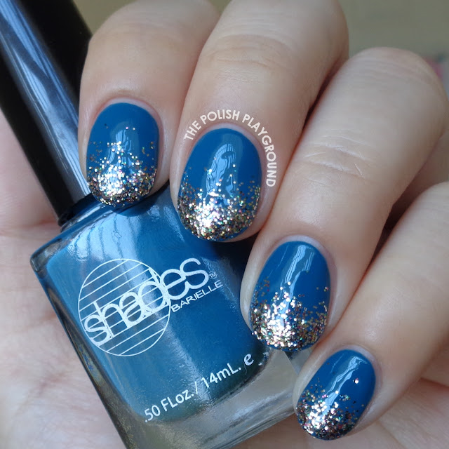 Dark Blue with Glittery Gradient Tips Nail Art