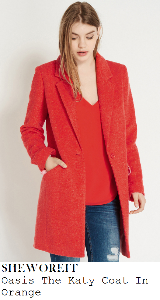 lauren-pope-bright-coral-orange-tailored-car-coat-towie