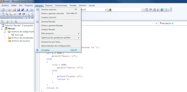 Imagen que muestra donde se encuentra el botón de compilar