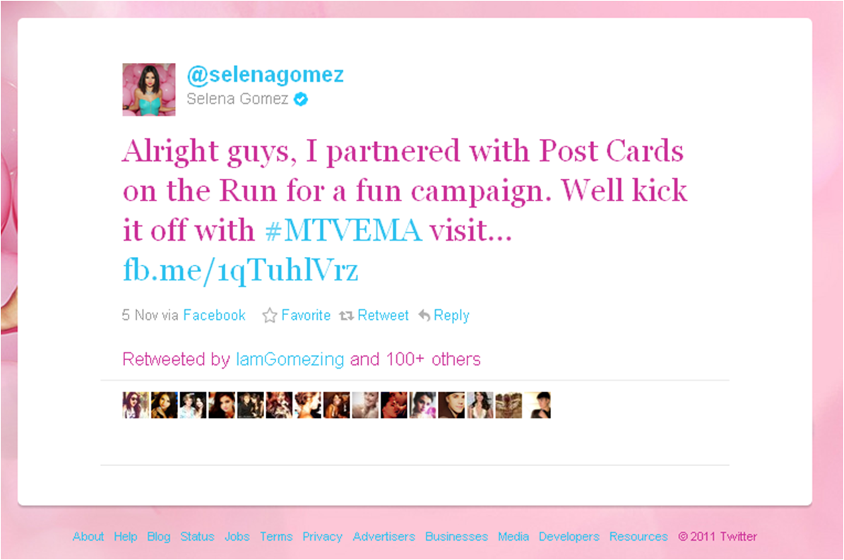 Tweet from Selena Gomez generated 20,000 downloads of the Postcard