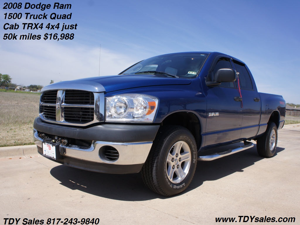 For sale 2008 dodge ram 1500 truck quad cab trx4 4x4 just 50k miles 16 988 tdy sales 817 243 9840 texas car deal dfw dealer new or used auto
