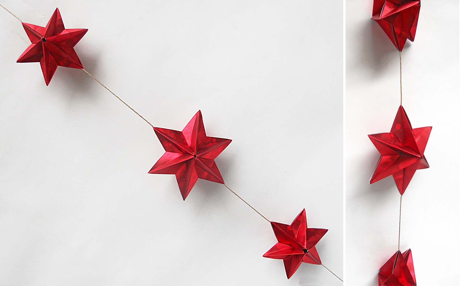 Origami Decoracion Navidad ~ Un? varias estrellitas rojas con un hilo para formar un m?vil