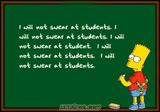 "Bart Simpson writing on chalkboard ""I will not swear at students"""
