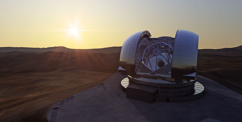 Artist's impression of the European Extremely Large Telescope (E-ELT) in its enclosure on Cerro Armazones, a 3060-metre mountaintop in Chile's Atacama Desert. Credit: ESO/L. Calçada