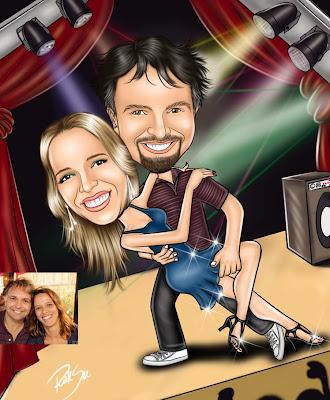 caricatura de casal dançando