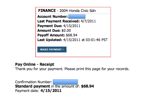honda financial services payoff address