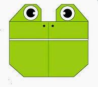 Bước 11: Vẽ mắt, vẽ mũi để hoàn thành cách xếp mặt con ếch bằng giấy origami.