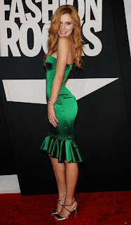 Bella Throne has got Some lovely Cleavages in figure Hugging Strapless Green Dress Hot Pics