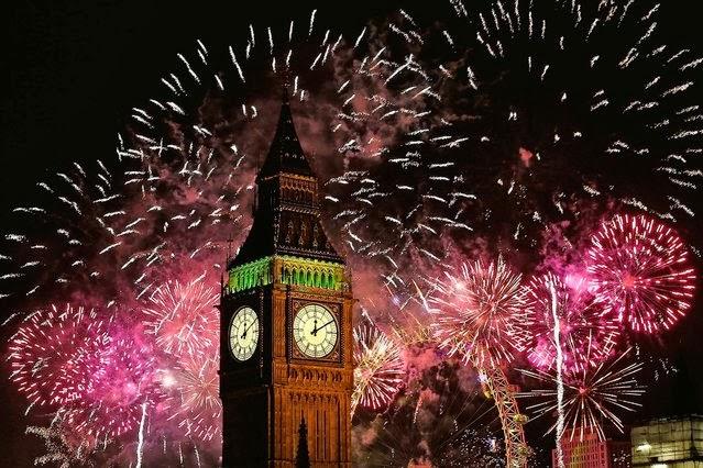 Fuegos Artificiales, año nuevo 2014, Londres, Reino Unido
