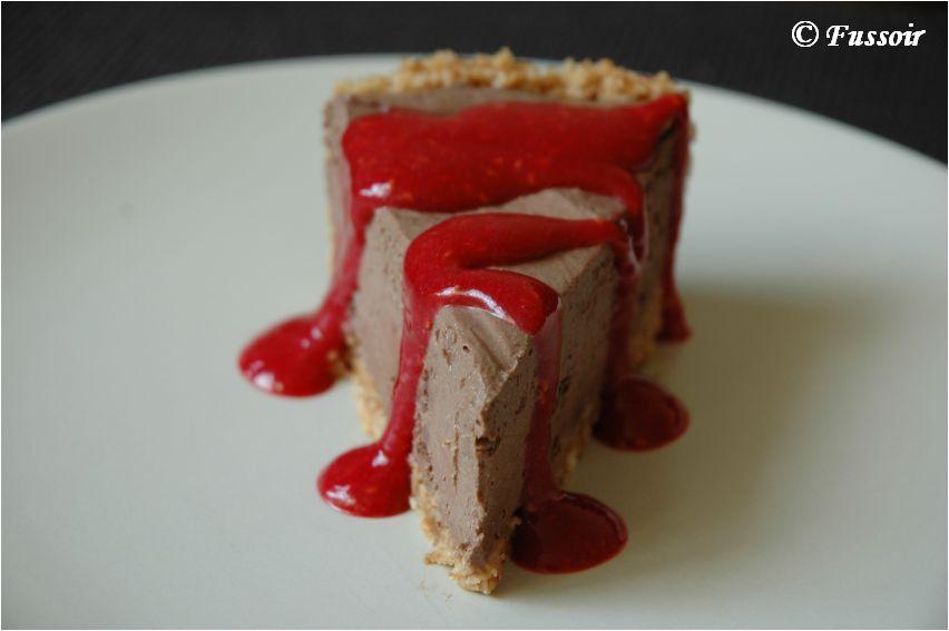 fussoir cheesecake au chocolat et au coulis de framboise. Black Bedroom Furniture Sets. Home Design Ideas