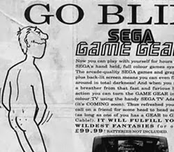 Propaganda do Game Gear Sega que associa o game com a prática da masturbação.