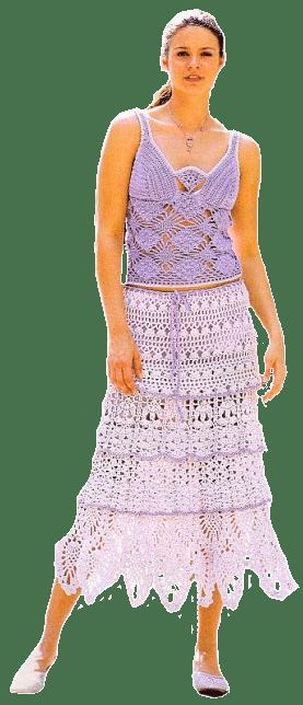 бело-сиреневый комплект: ажурные топ и юбка