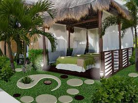 diseño de jardines pequeños - yin yang - iluminación noche