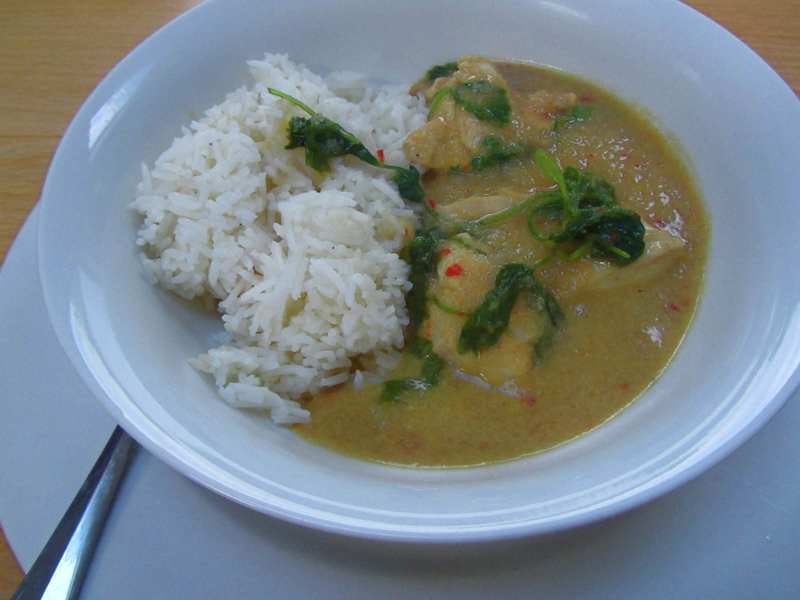 Good food and red shoes: Coconut chicken with lemon rice