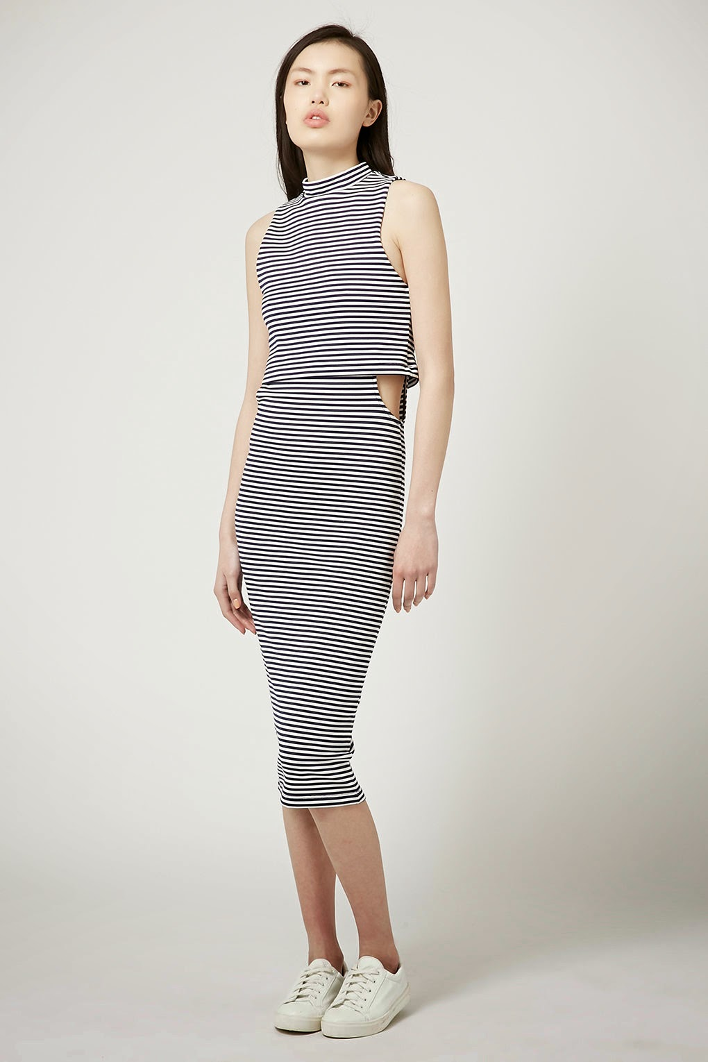 navy white stripe dress topshop