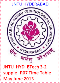 JntH Btech 3-2 Supple R07 Time Table May June 2013