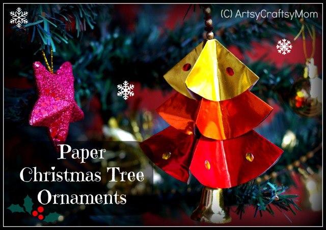 paper Christmas tree ornament craft DIY