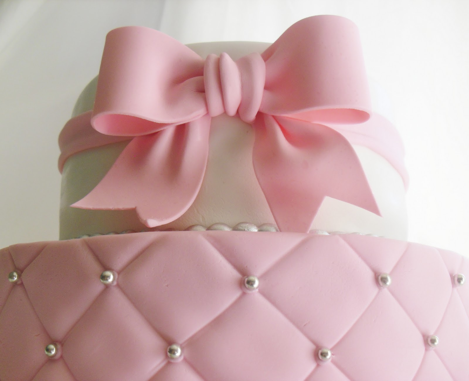 made FRESH daily Quilted Pink and White Baby Shower Cake