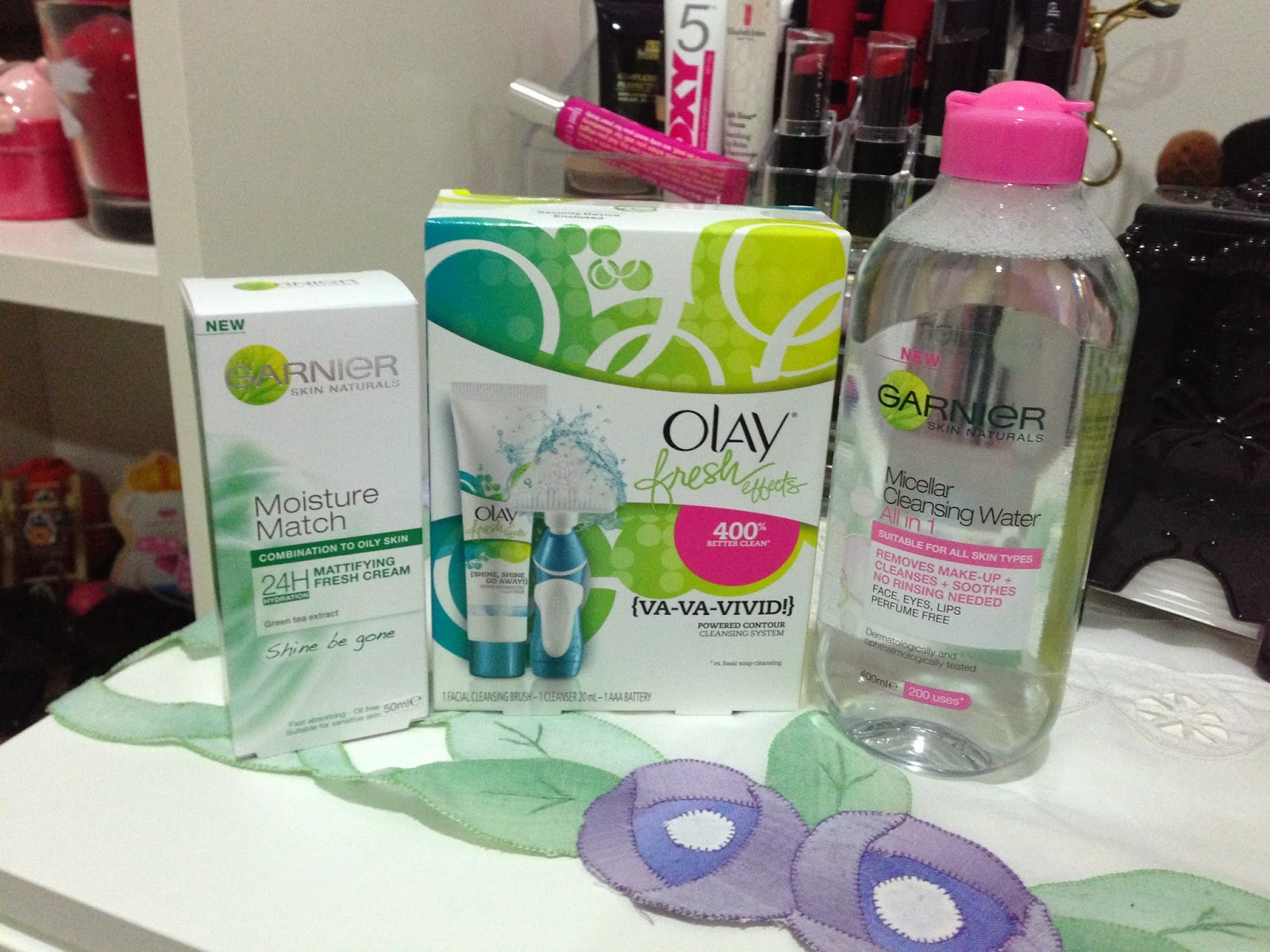 Garnier Micellar Cleansing Water, Olay Fresh Effects Powered Contour System & Garnier Moisture Match Combination/Oily Mattifying Fresh Cream