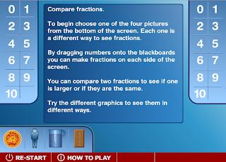 Δες κάτω από τους μαυροπίνακες αν η αξία των κλασμάτων που έβαλες είναι η ίδια. Διάλεξε από το κάτω μέρος της οθόνης τι θα μοιράσεις.  Σύρε με το ποντίκι σου στους μαυροπίνακες αριθμούς και φτιάξε ισοδύναμα κλάσματα.