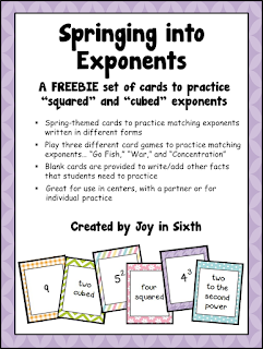 https://www.teacherspayteachers.com/Product/Free-Springing-Into-Exponents-635904