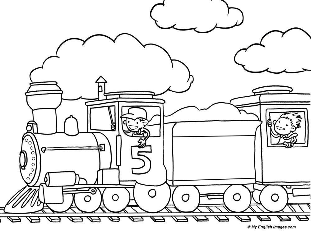 Line Drawing Train : Outline drawing line painting