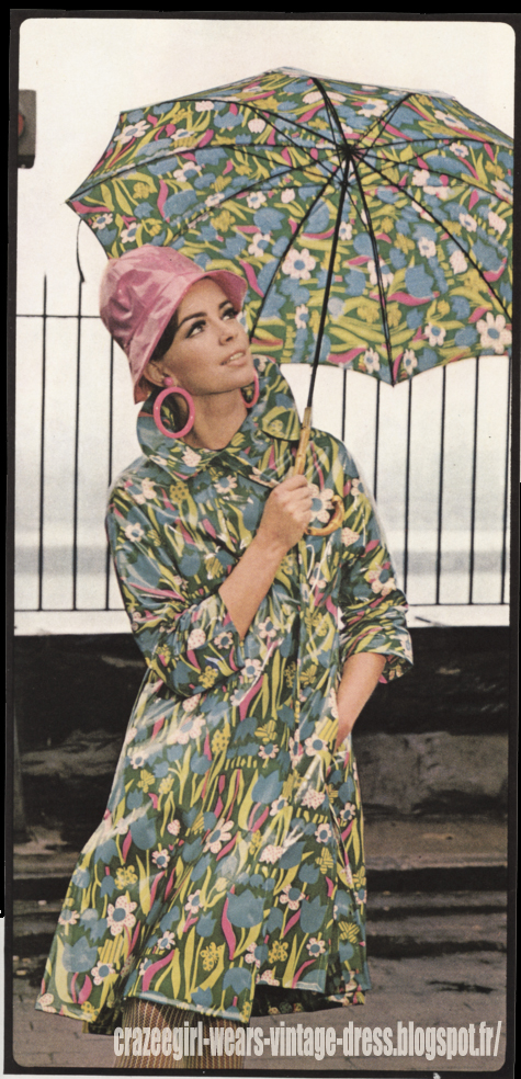 Raincoat - 1966 flower vinyl pvc rain coat 60s 1960 umbrella