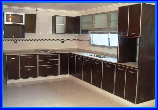 Diseño de mueble de cocina en L ,melamina color cerezo,puertas y