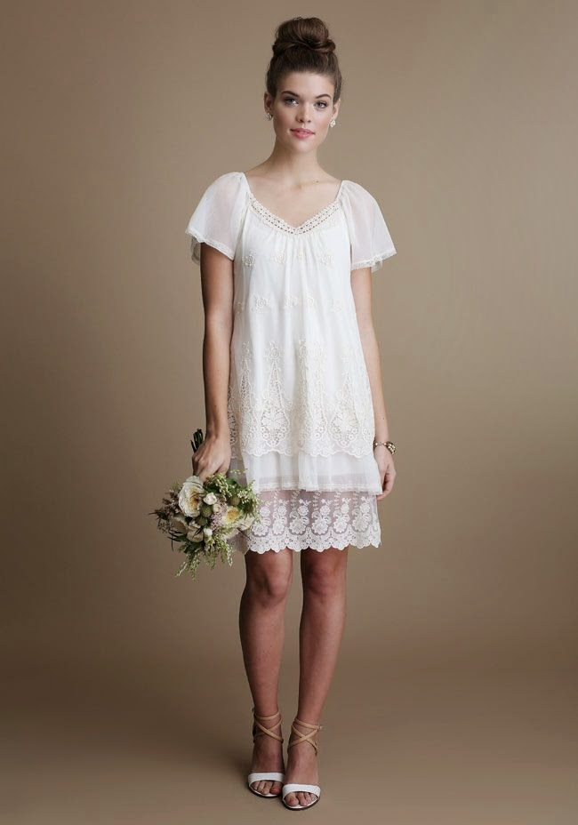 Short Ruche Wedding Dress: Affordable Wedding Dresses - 1920s