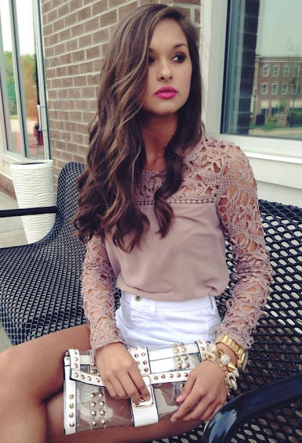 Crochet Lace Detail Top With White Shorts