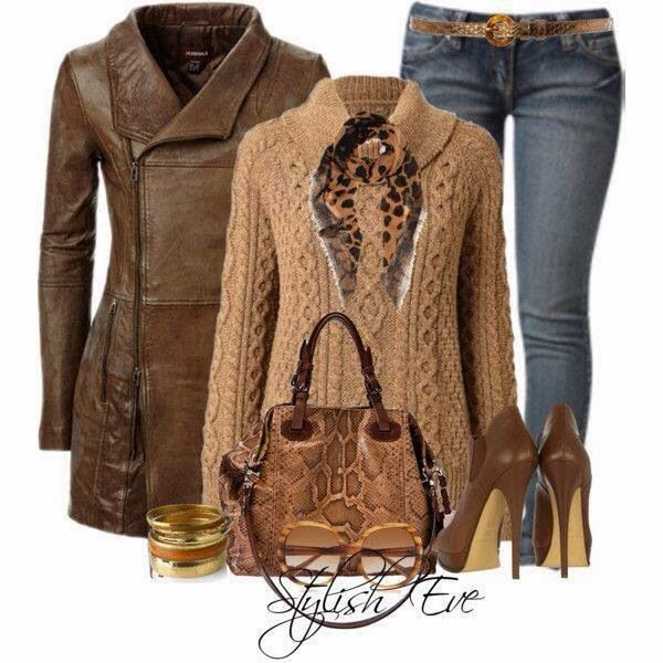 Long brown trench coat, handwoven sweater, jeans and handbag fashion for fall
