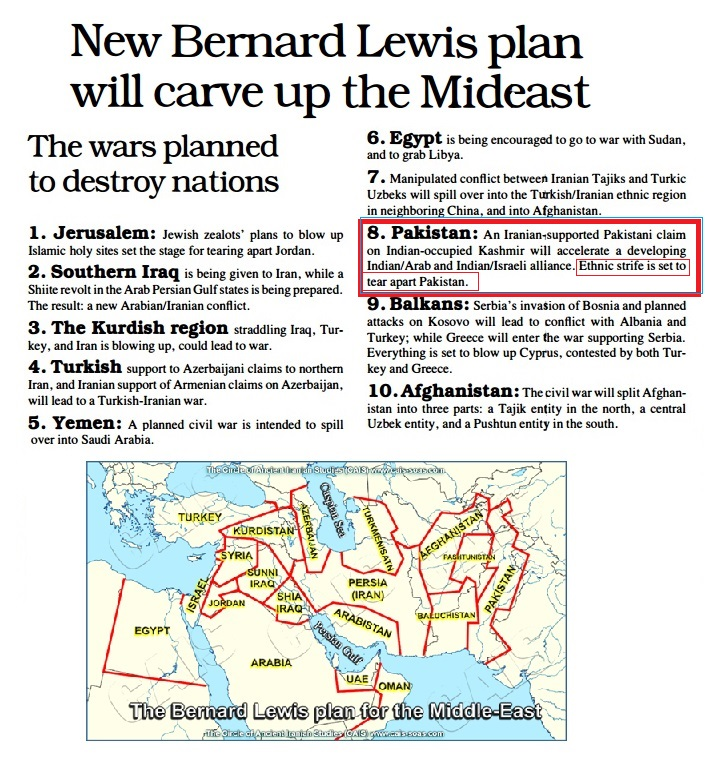 AftabKhannet Bernard Lewis Plan To Carve Up Middle East And Pakistan - Map of the middle east us war plan