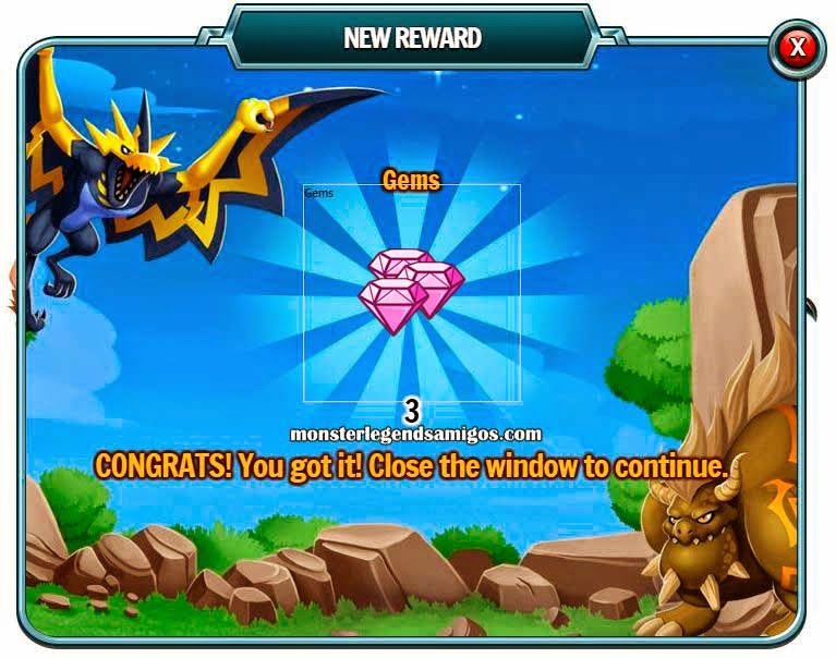 imagen del premio gratis de gemas de monster legends