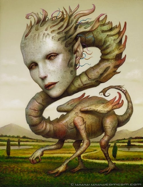 05-Dragon-Bitch-Naoto-Hattori-Dream-or-Nightmare-Surreal-Paintings-www-designstack-co