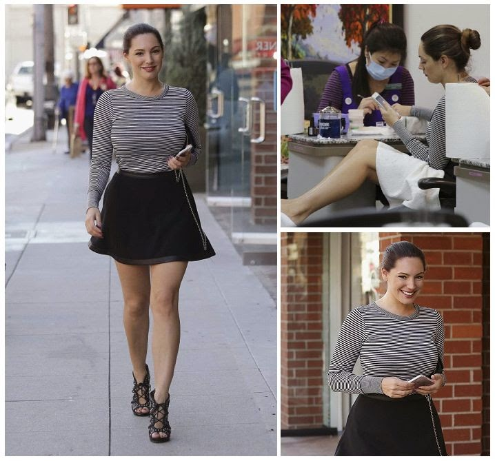 We're really impressed with not only Kelly Brook's beautifully, but also her ability to keeping her art.  So it's no surprise the 35-year-old was showing them off again as she headed out into the beauty treatment salon at Beverly Hills on Tuesday, January 27, 2015.
