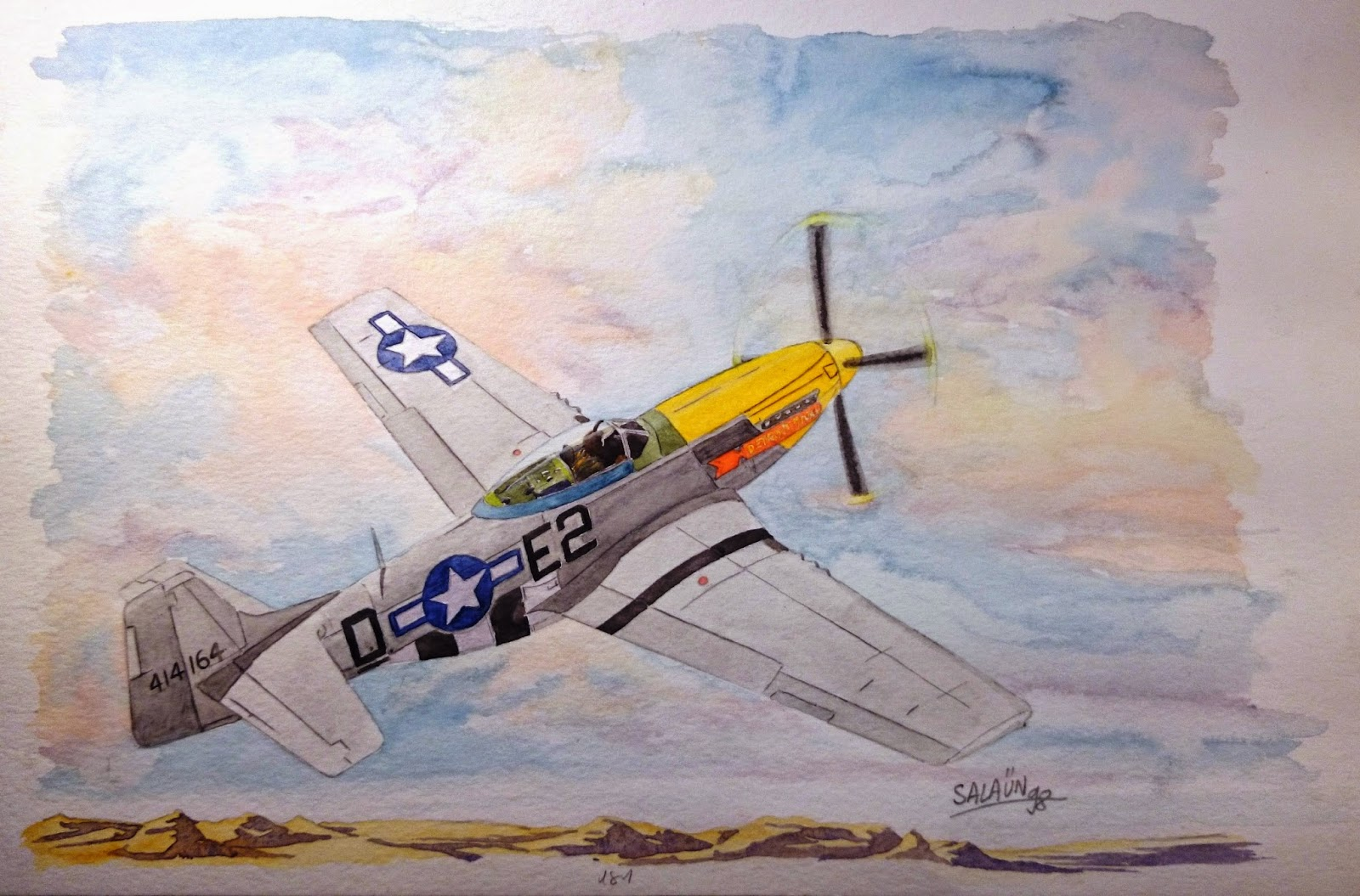 North American P-51D-10-NA 'MUSTANG', aquarelle