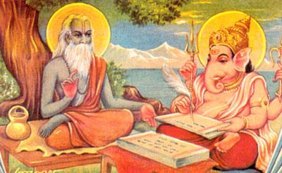 Vyasa dicte les écritures saintes à Ganesham