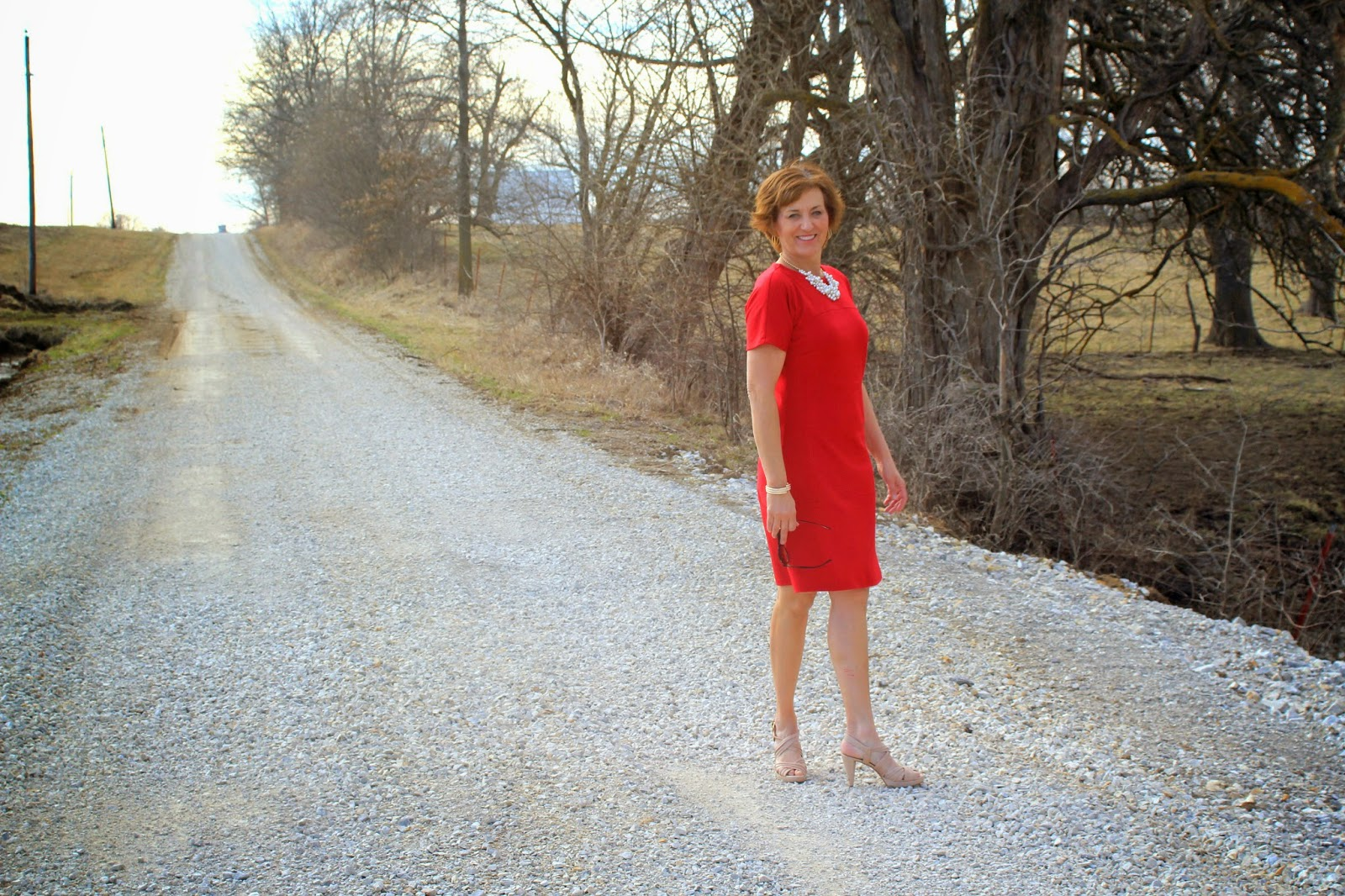 Vogue 8805 in red ponte for a fun summer dress which is down a country gravel lane