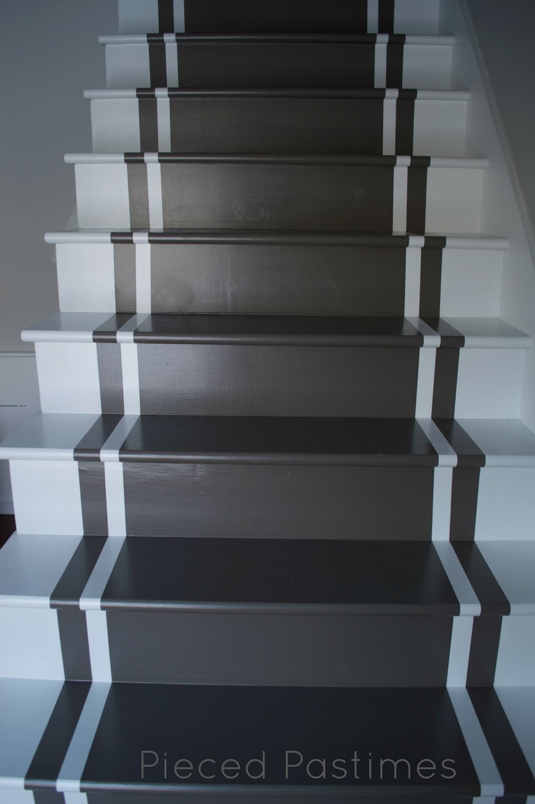 Best Paint For Stairs Pieced Pastimes Diy Painted Stair Runner