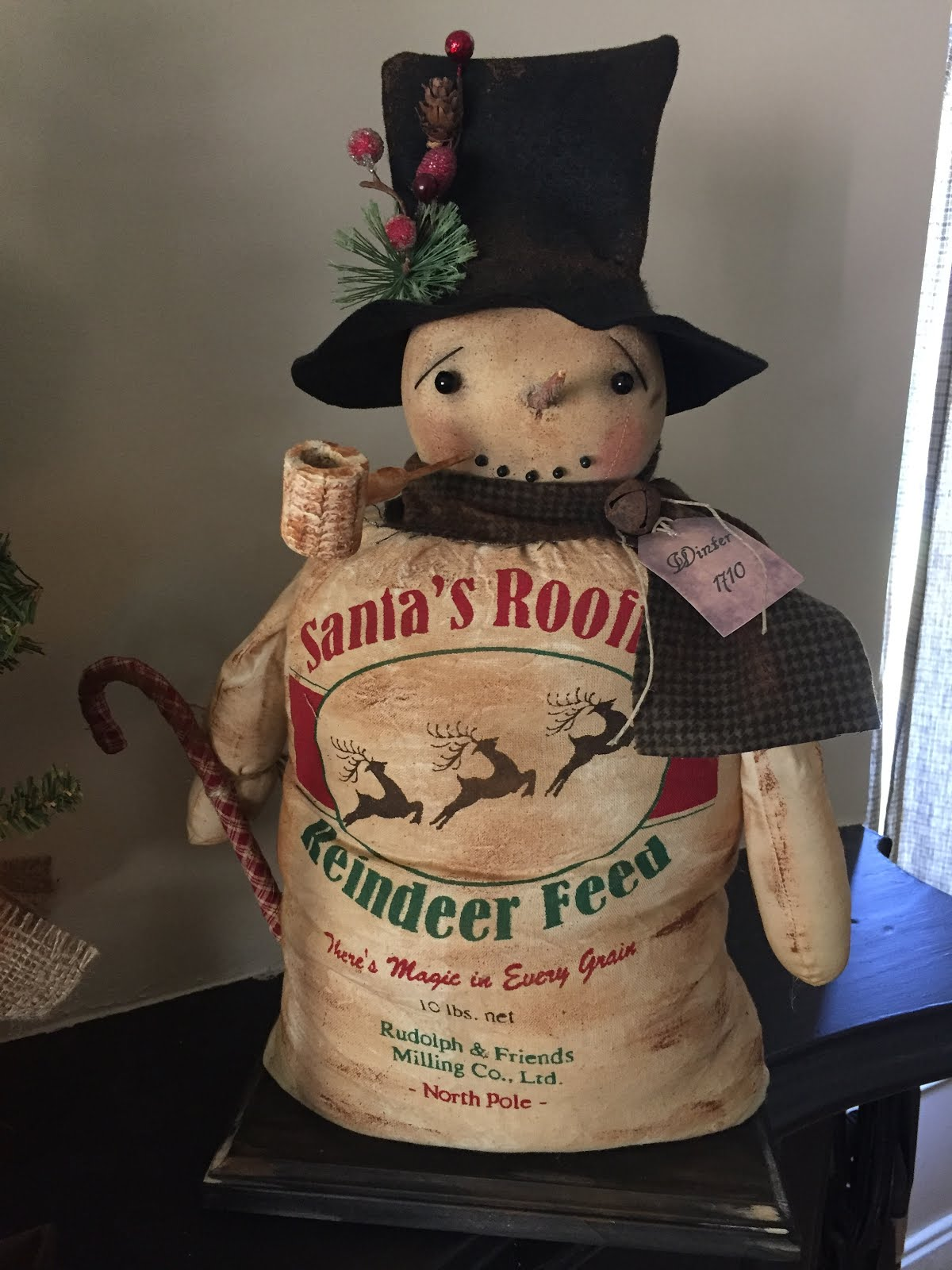 Handmade Primitive Reindeer Sack Standing Snowman With Pipe And Candy Cane