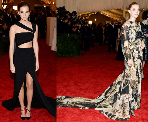 Emma Watson in Prabal Gurung and Amanda Seyfried in Givenchy Couture